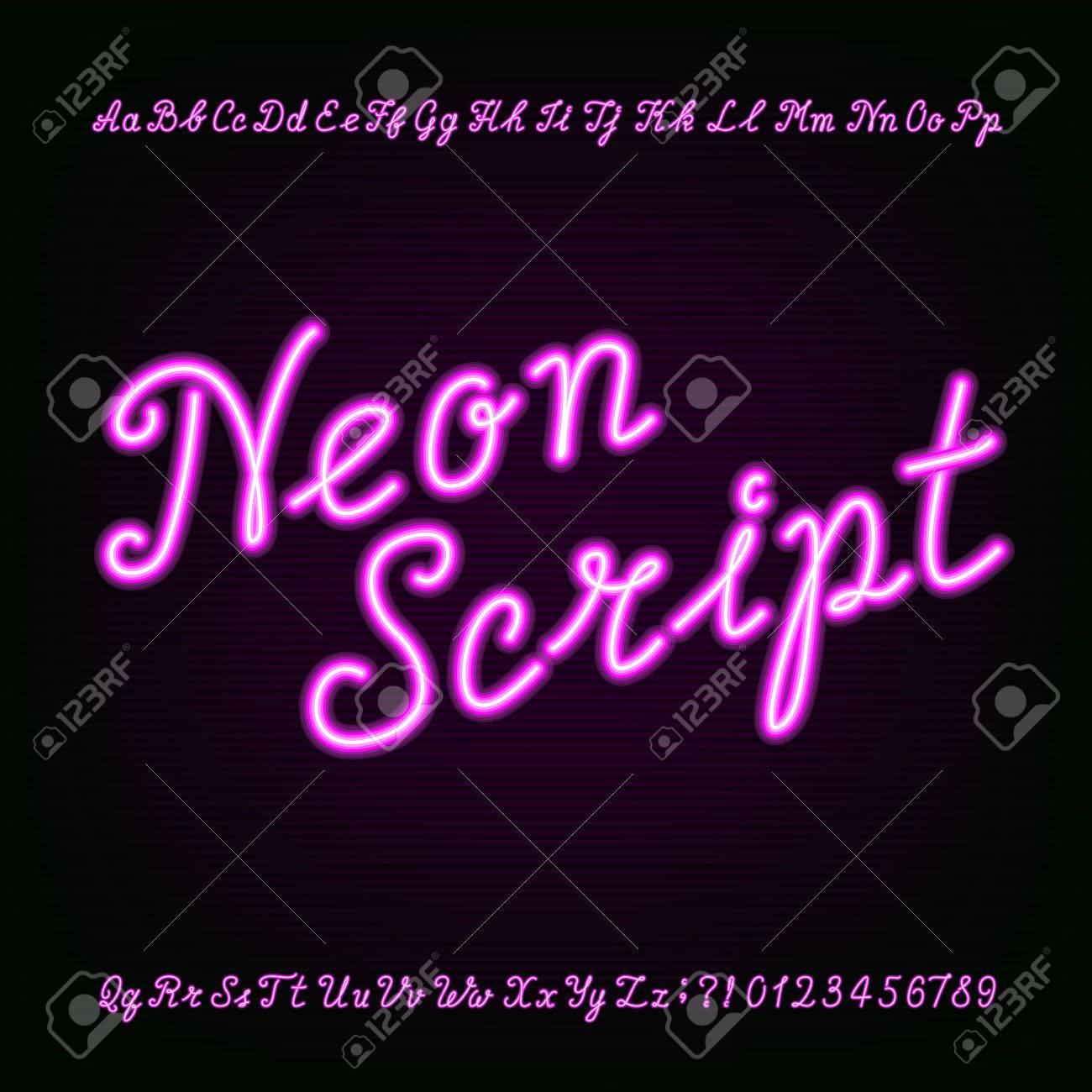 neon script hand drawn alphabet font purple neon type letters and numbers on a dark