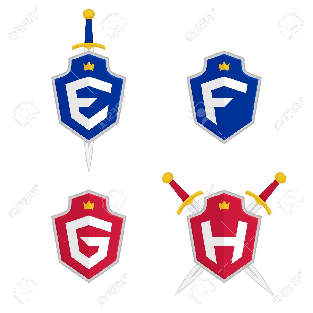 Letter e f g h vector logo templates letter logo with shield letter e f g h vector logo templates letter logo with shield spiritdancerdesigns Choice Image