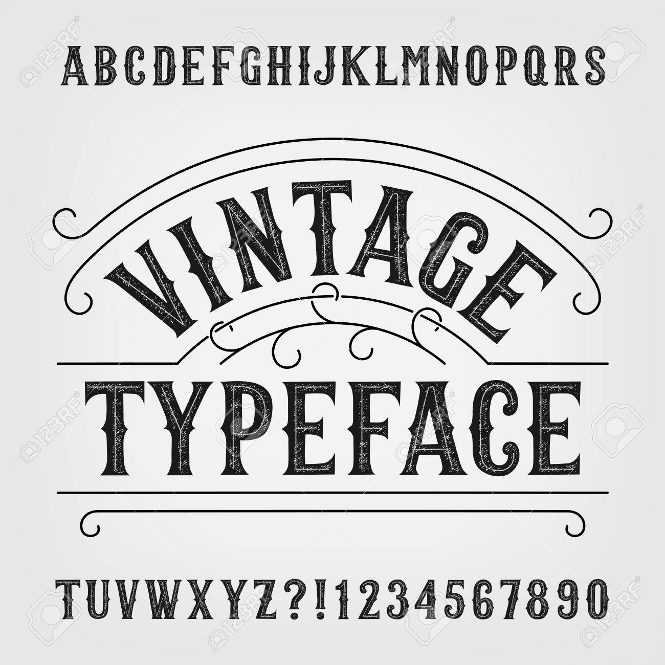 Vintage Typeface Retro Distressed Alphabet Font Hand Drawn