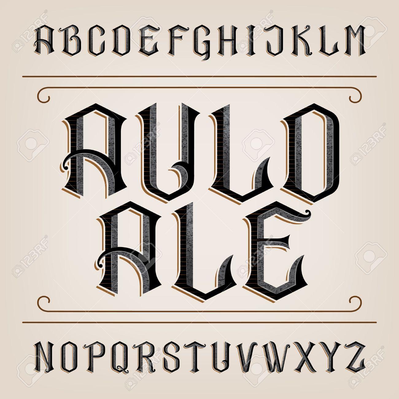 Old alphabet font. Distressed hand drawn letters. Vintage alphabet for labels, headlines, posters etc. - 57947833
