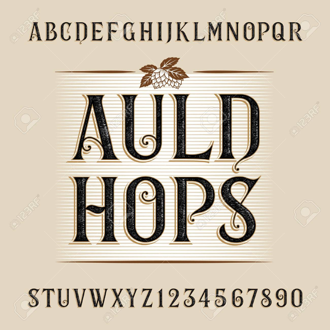 Auld Hops Alphabet Font Distressed Letters And Numbers Vintage For Labels Headlines
