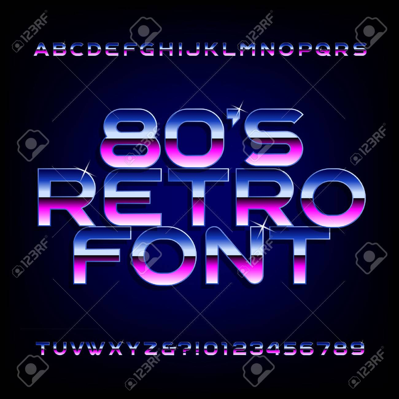 80's retro alphabet font. Metallic effect shiny letters and numbers. - 58457548