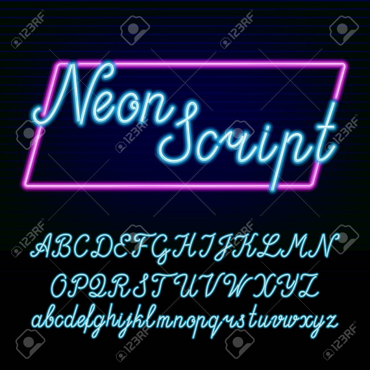 neon tube alphabet font hand drawn script type letters and numbers on a dark background