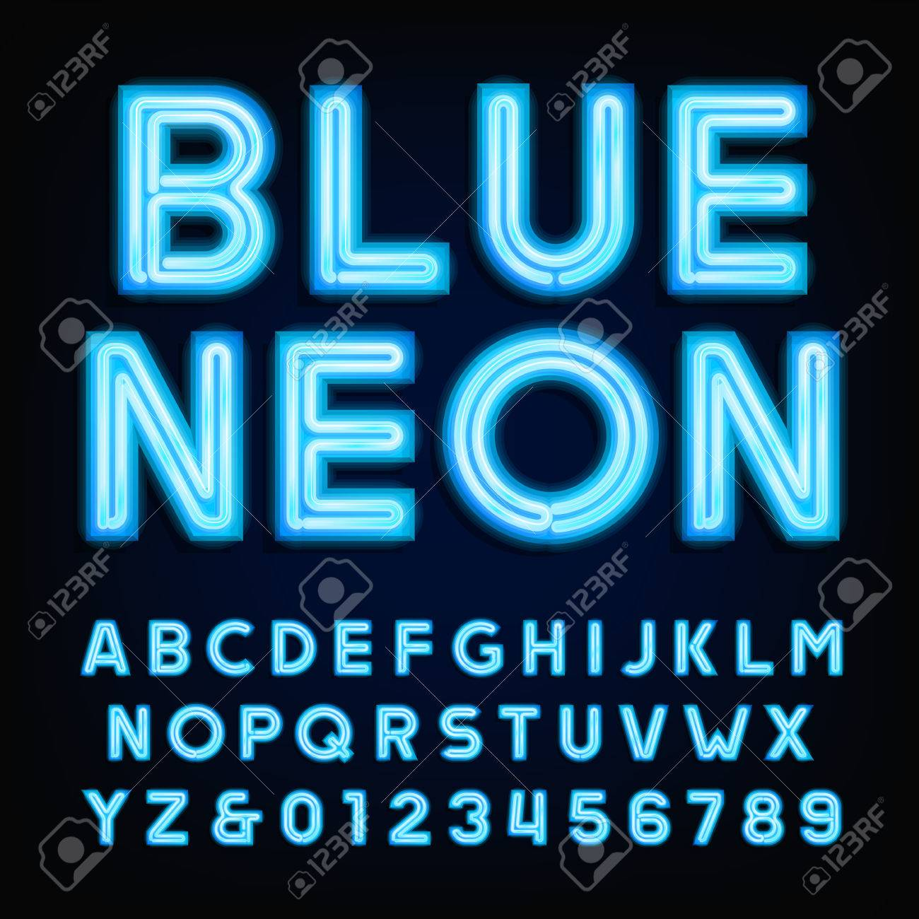 blue neon tube alphabet font type letters and numbers on a dark background typeface