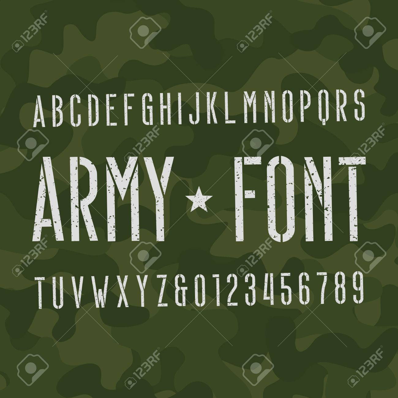 army alphabet font scratched type letters and numbers on camo