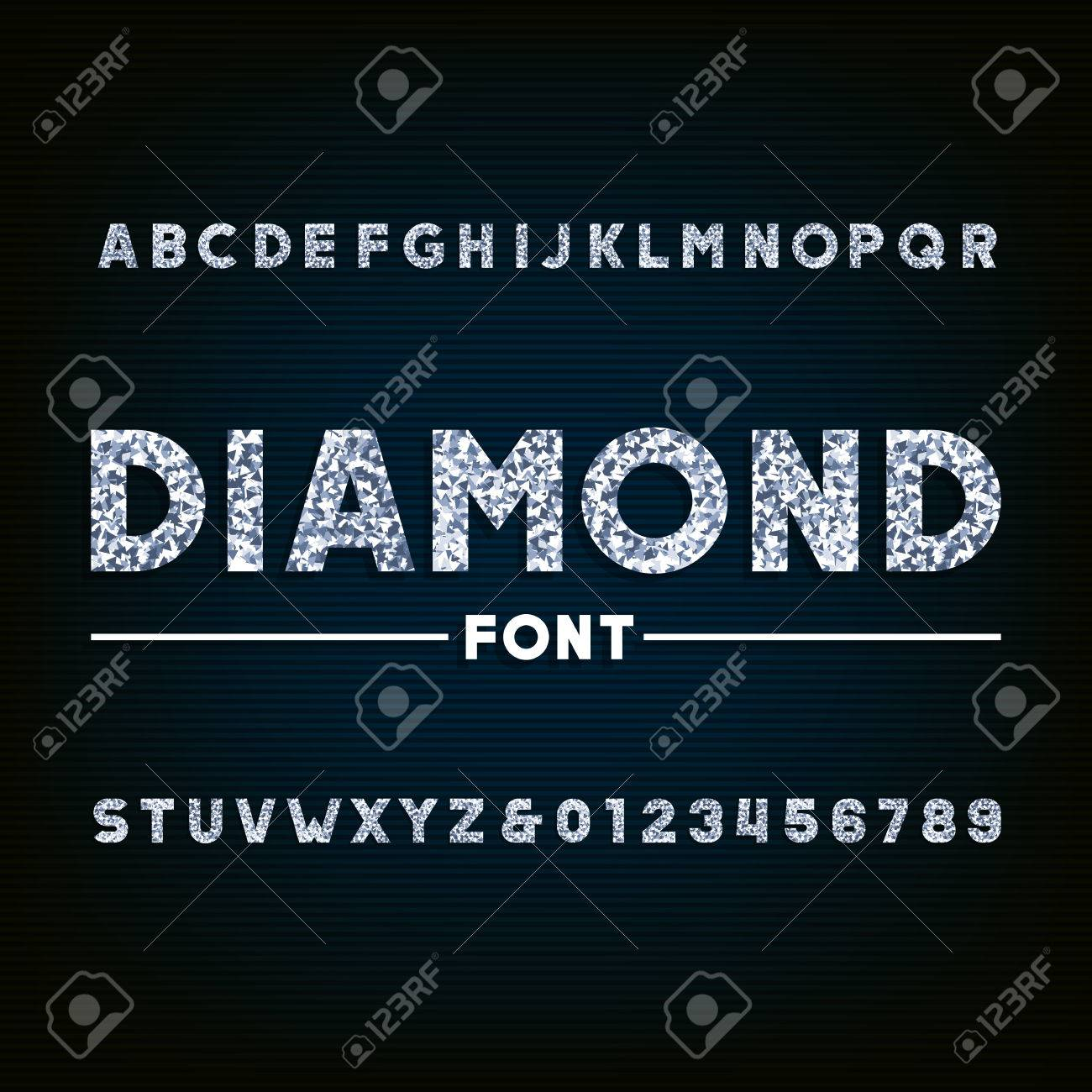 Diamond alphabet font. Brilliant letters and numbers. Stock vector typography for your design. - 63011786