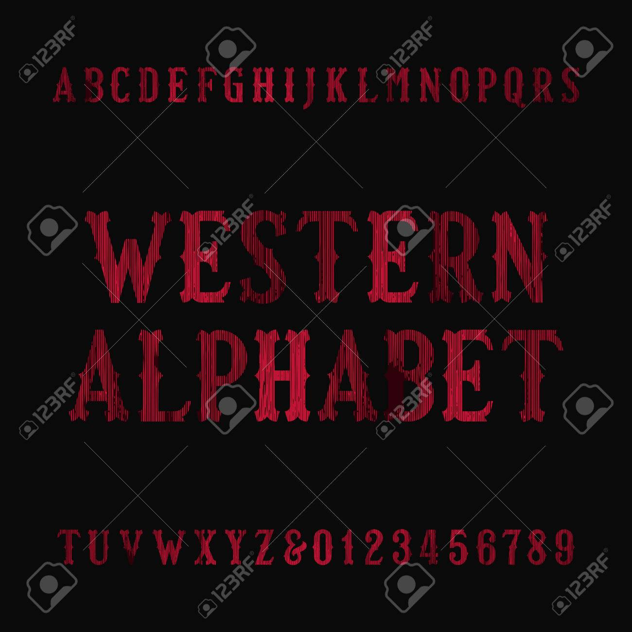 Western vintage alphabet font  Distressed serif letters and numbers