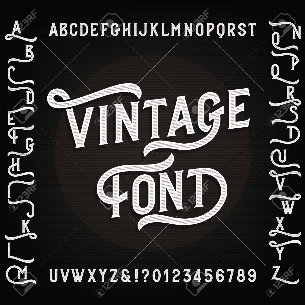 Vintage Alphabet Font With Alternates Letters Numbers And Symbols