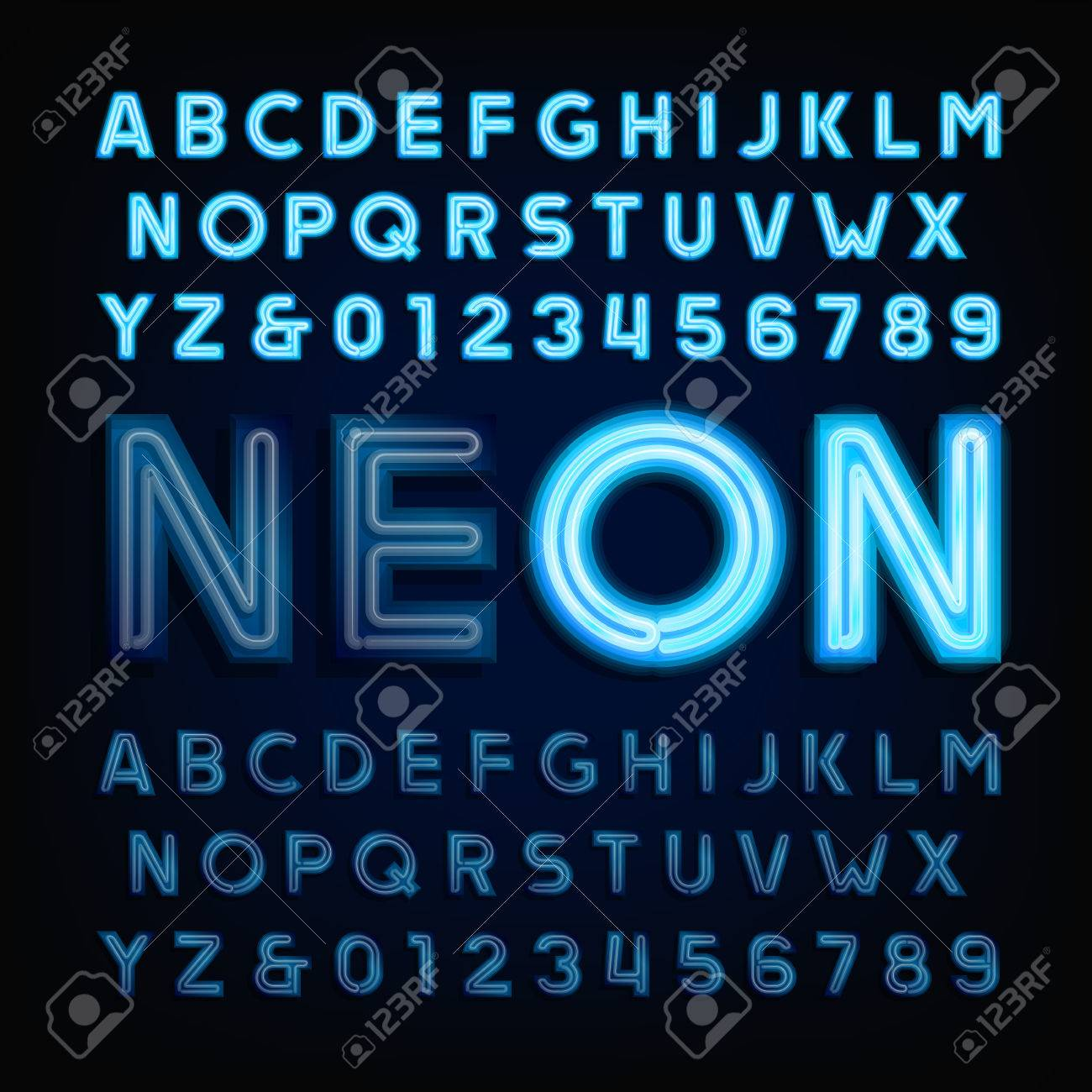 Blue neon tube alphabet font  Light turn on and off  Type letters