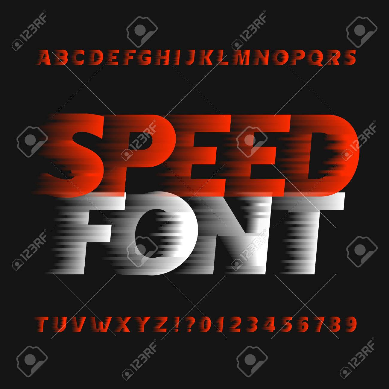 Speed ??alphabet font. Wind effect type letters and numbers on a dark background. Vector typeface for your design. - 69259600
