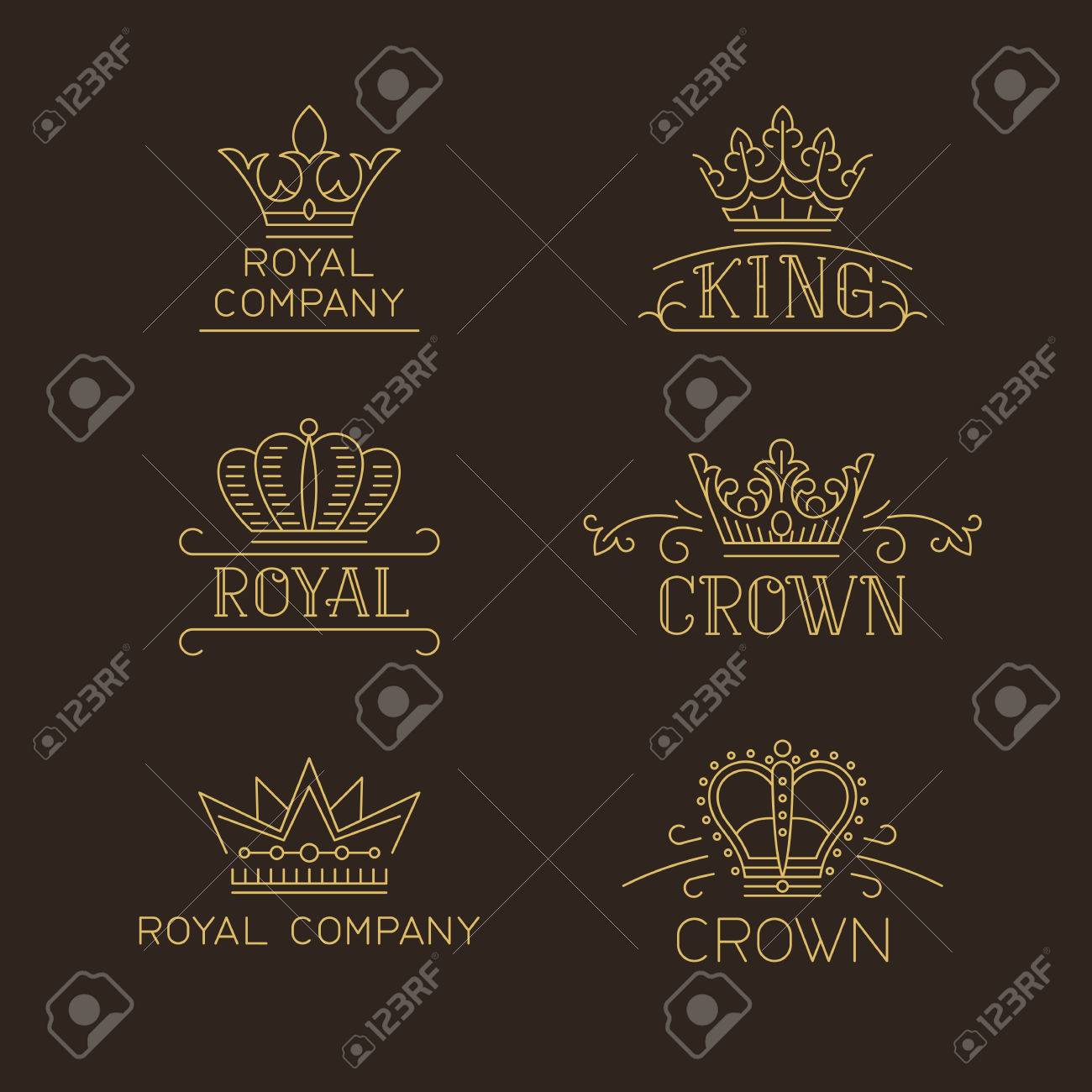 Crown logo set luxury signs in trendy outline style vector crown logo set luxury signs in trendy outline style vector illustration for hotel stopboris Gallery