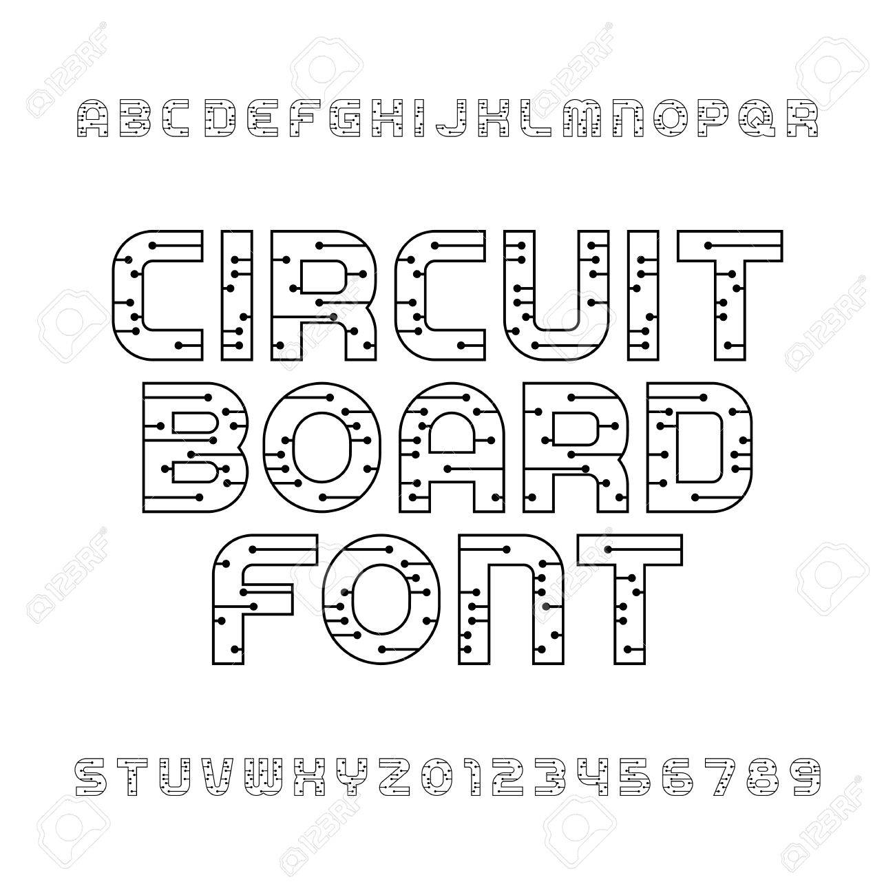 Cool Circuit Board Font Vector Alphabet Digital Hi Tech Style Letters Wiring 101 Breceaxxcnl