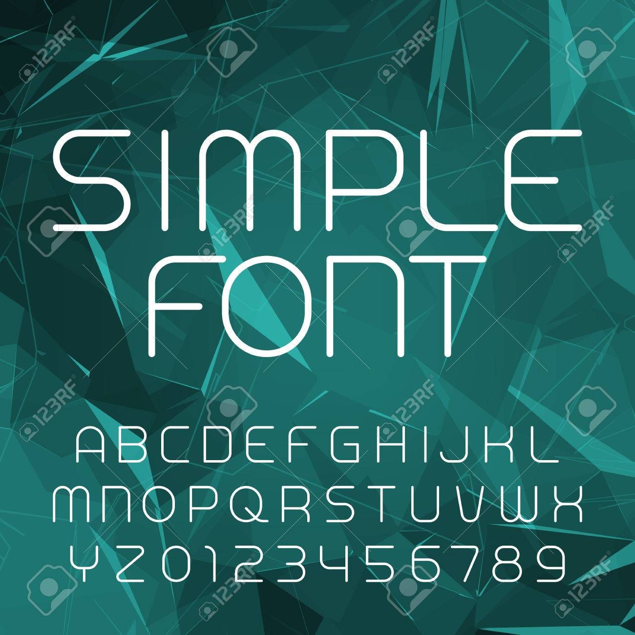 Simple Alphabet Vector Font In Outline Style Thin Line Letters And Numbers On A Polygonal