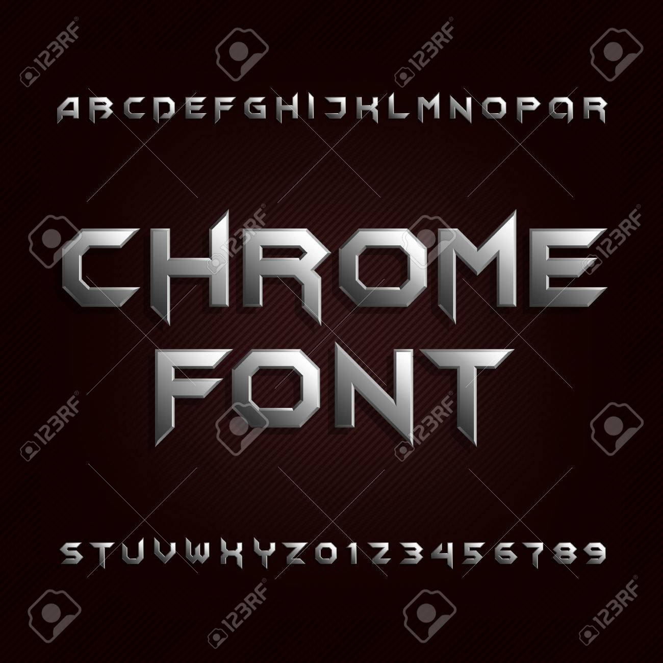 Chrome alphabet font. Metallic effect letters and numbers. Stock vector typeface for your design. - 74725713