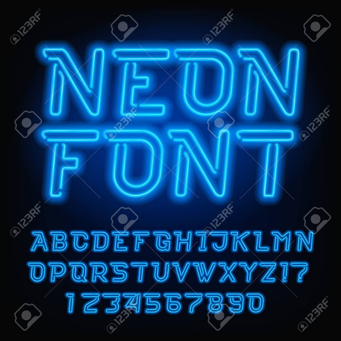 neon tube alphabet font blue color oblique type letters and numbers vector typography for