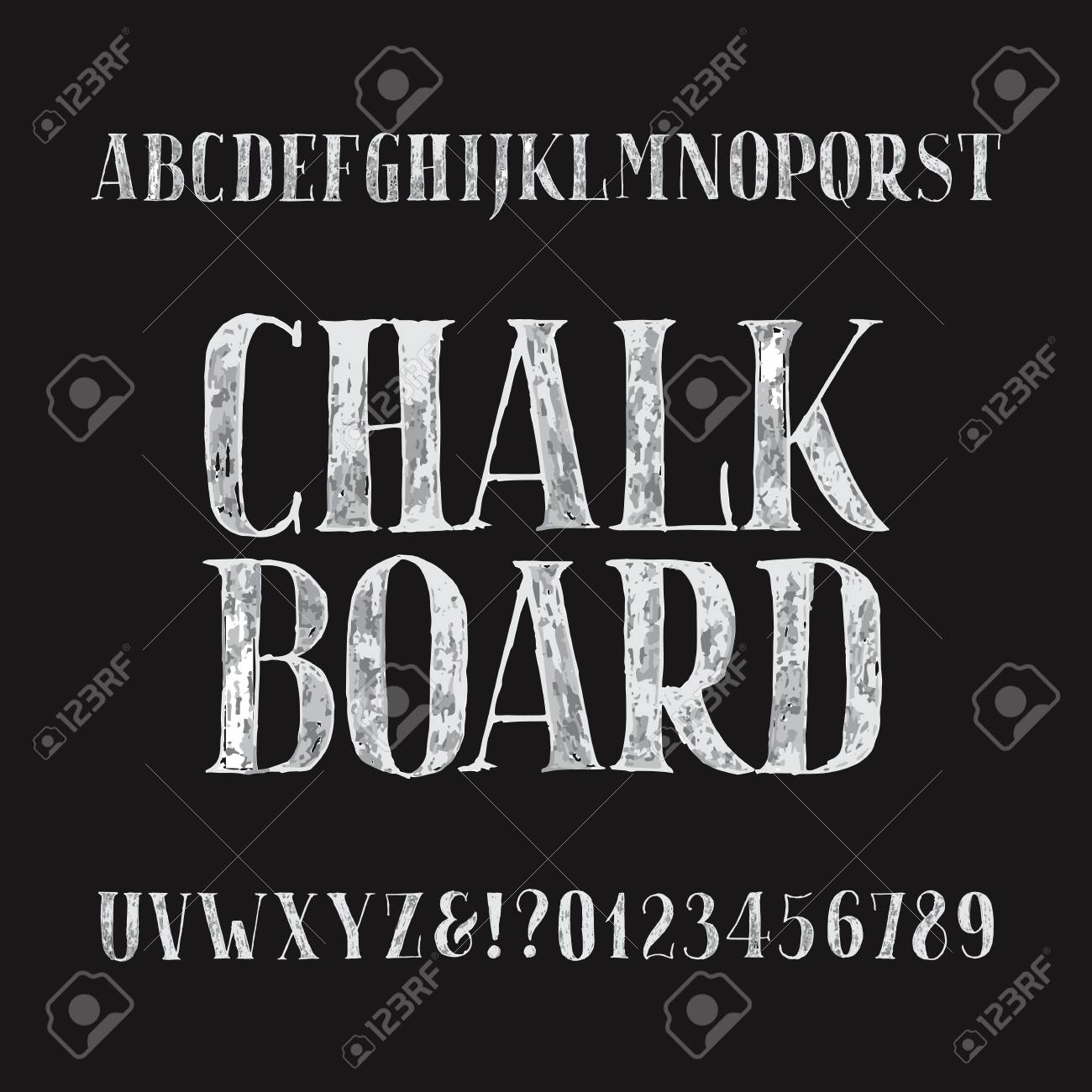 Chalk Board Alphabet Font Hand Drawn Type Letters And Numbers On A Dark Background