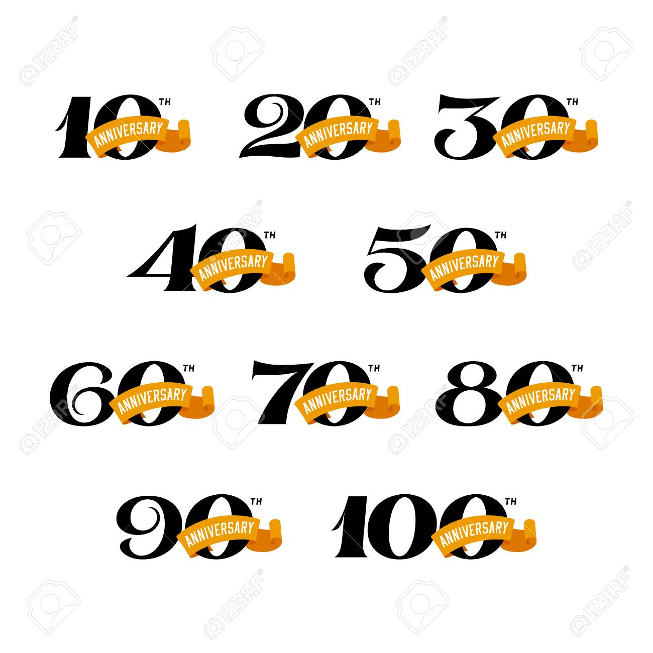 Set of anniversary signs from 10 to 100. Numbers on a white background. Stock Vector signs design elements. - 95737572