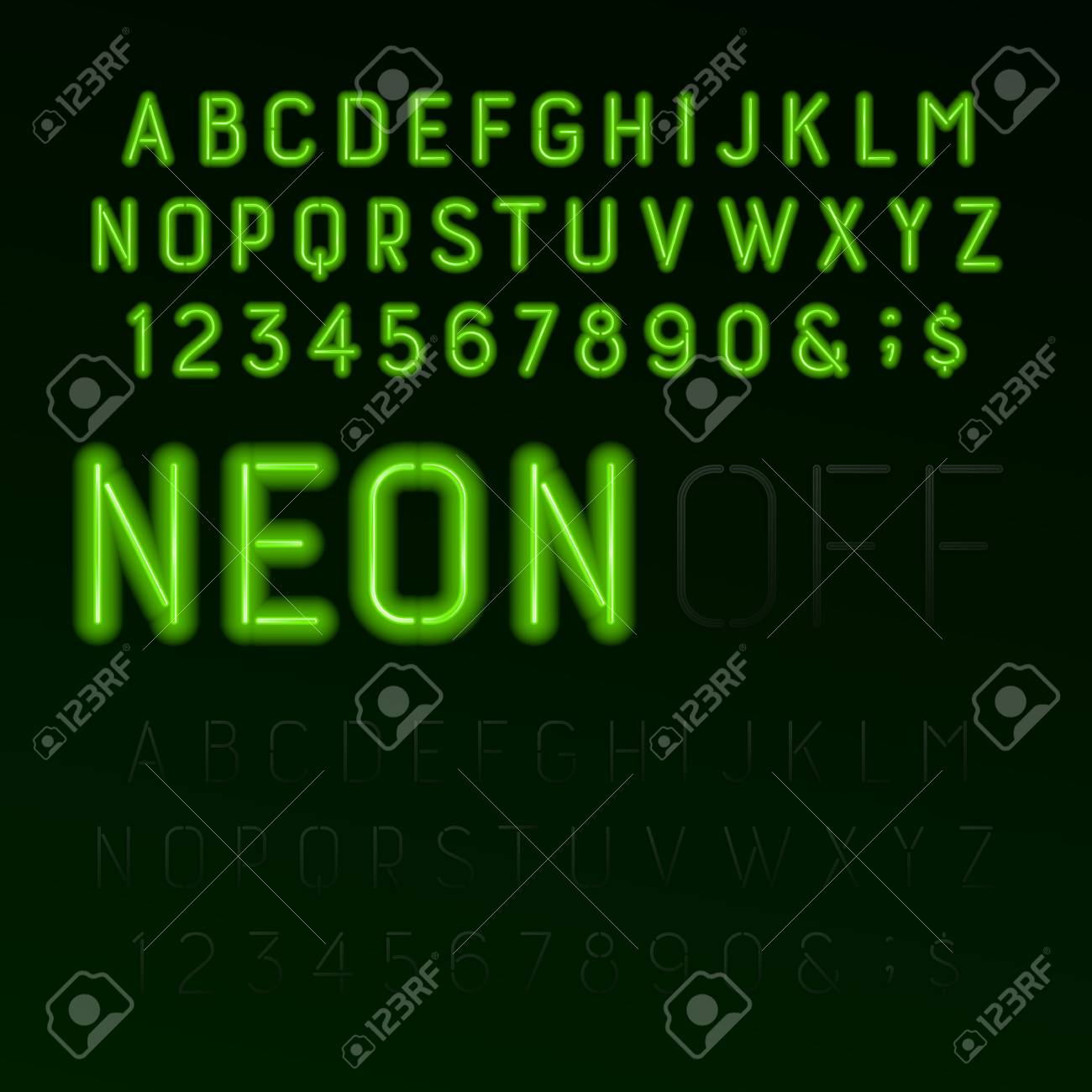 Green Neon Tube Alphabet Font. Neon Color Letters, Numbers And ...