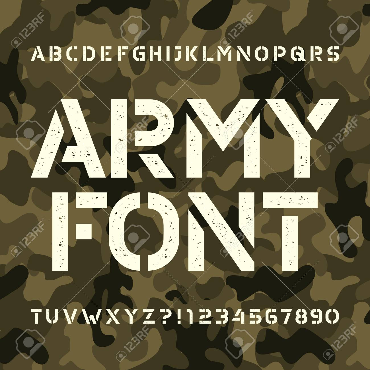 Army stencil alphabet font  Messy type letters and numbers on