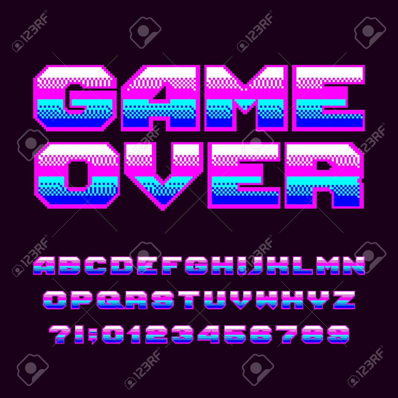 Game over alphabet font  Pixel letters and numbers  80s arcade