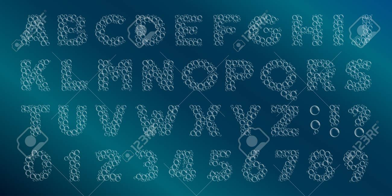 bubble alphabet font water bubbles letters and numbers stock vector typescript for your design