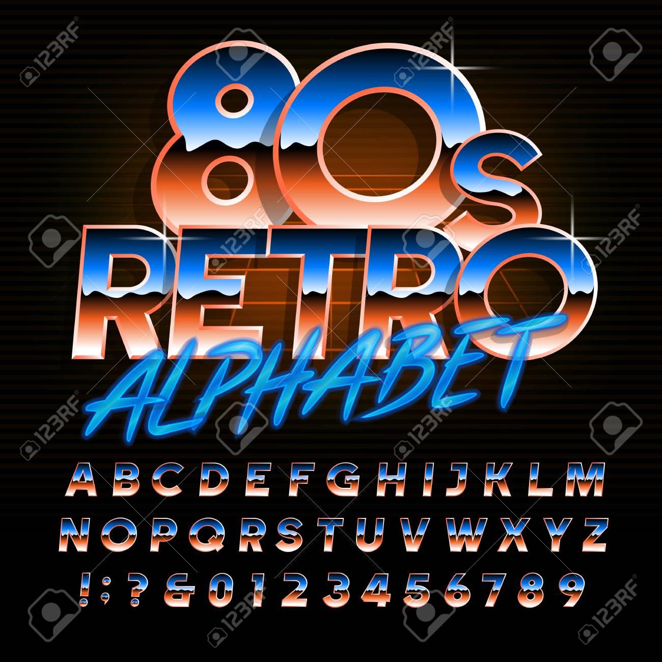 80s retro alphabet font  Uppercase oblique shiny gradient letters