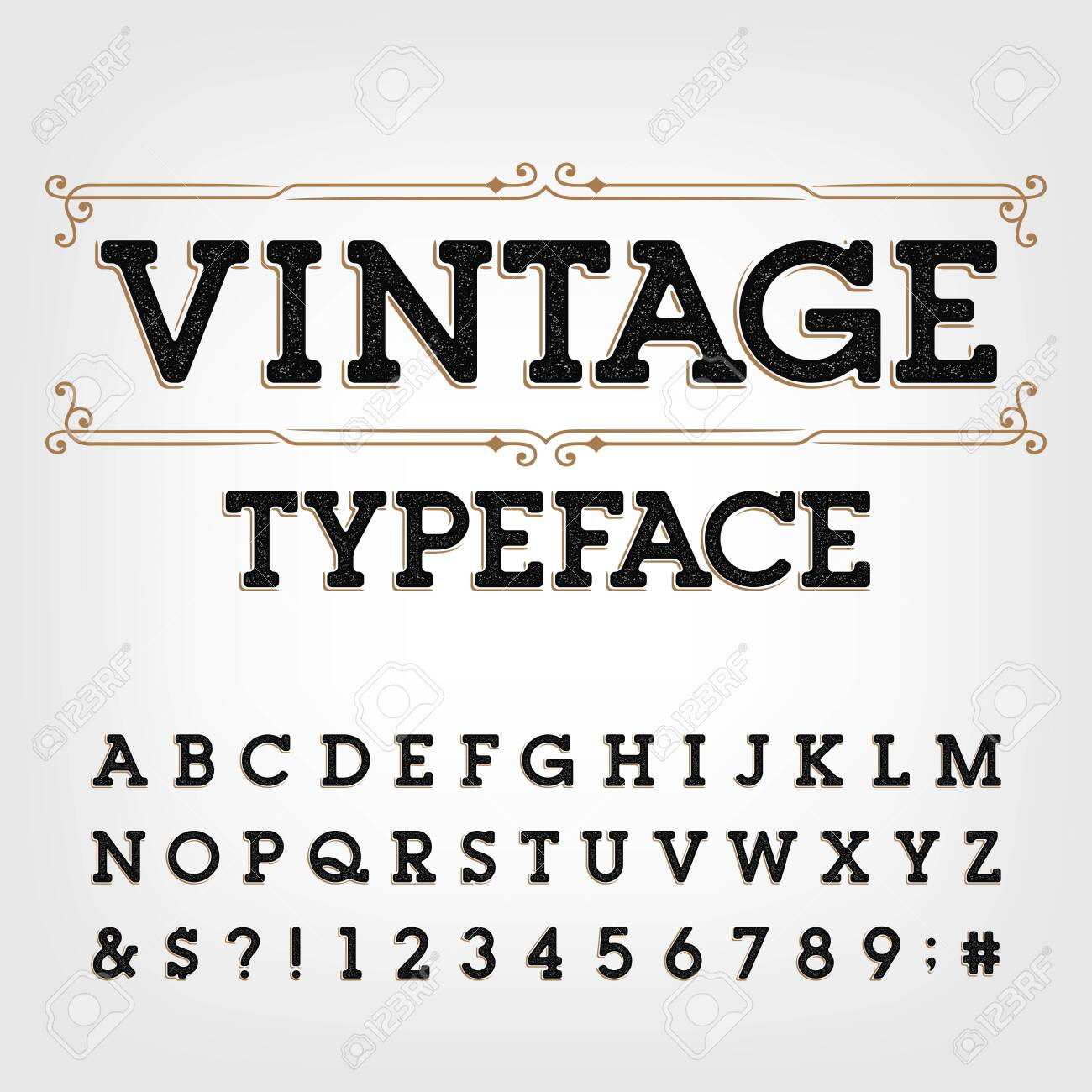 Vintage typeface. Scratched retro letters, numbers and symbols. Vector alphabet for your typography design. - 128030510