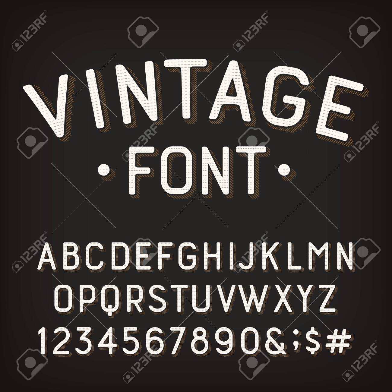Vintage alphabet font. Damaged retro letters, numbers and symbols. Vector typescript for your typography design. - 136962597