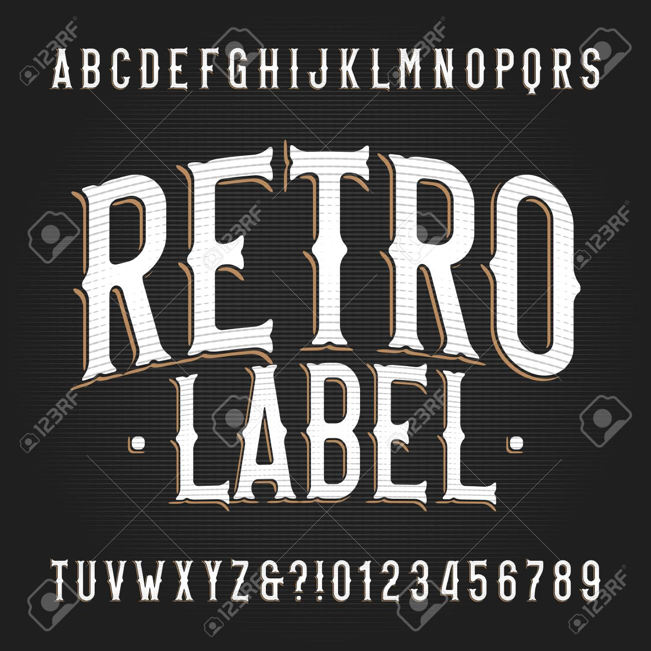 Retro Label alphabet font. Hand drawn vintage letters and numbers. Vector typescript for your typography design. - 138154816