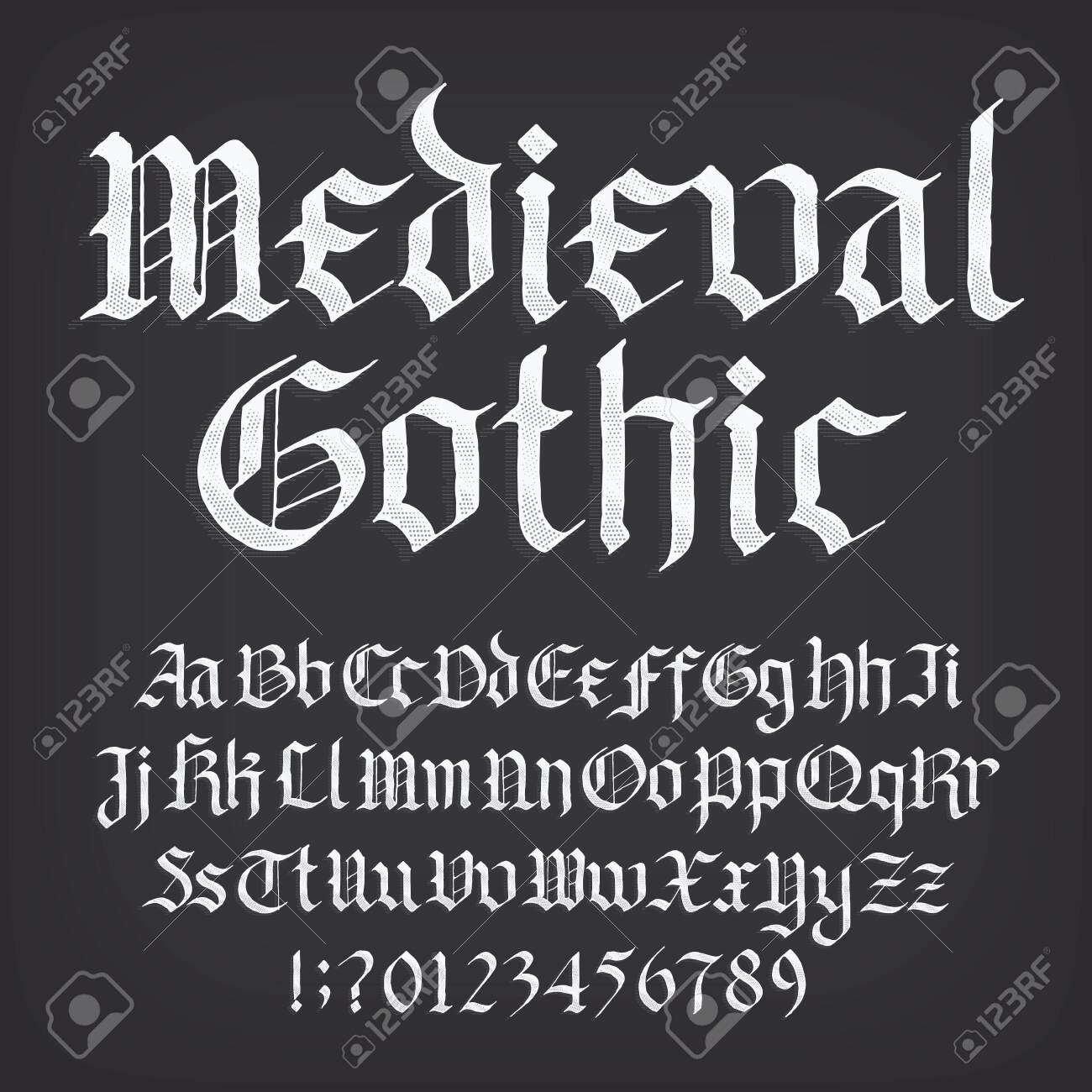 Medieval Gothic alphabet font. Old uppercase and lowercase letters, symbols and numbers. Stock vector typescript for your design. - 141745564