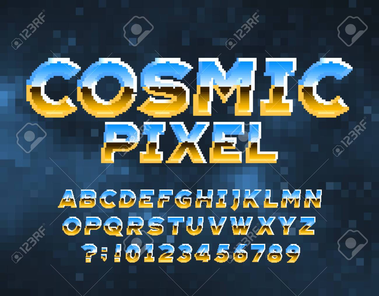 Cosmic Pixel alphabet font. Chrome effect letters and numbers. Abstract pixel background. 80s arcade video game typescript. - 151464347