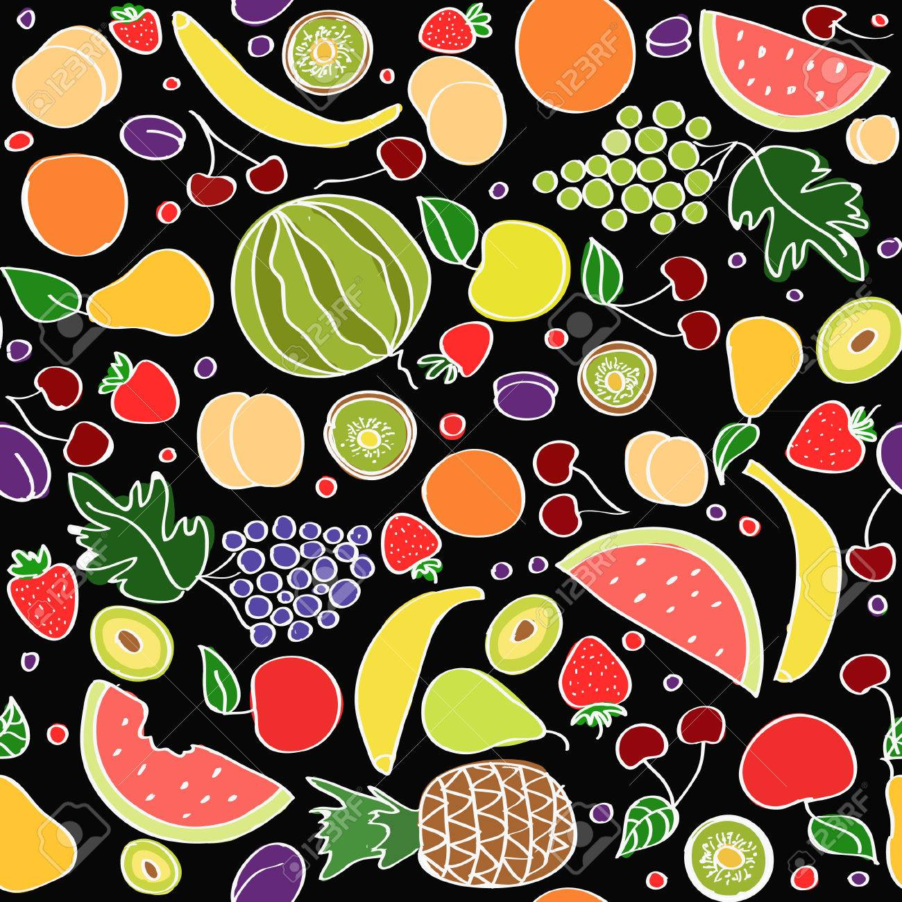39771275-Seamless-vector-doodle-cartoon-pattern-of-summer-fruits-on-black-background-Stock-Vector