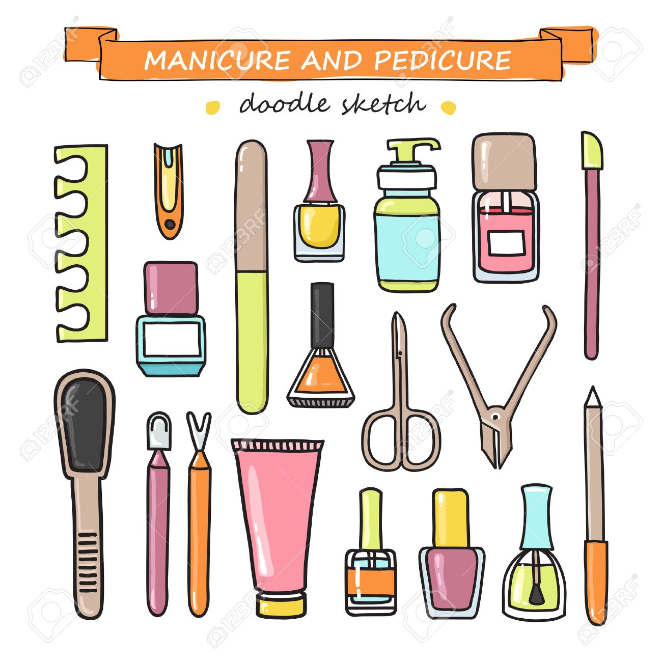 Vektor-Satz Von Maniküre Und Pediküre Doodle Ausrüstung. Nagelkunst ...