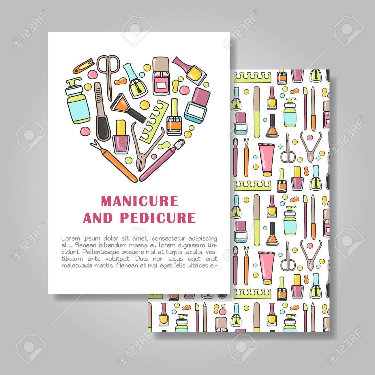 マニキュア、ペディキュアのイラスト背景と招待カード デザインの 2