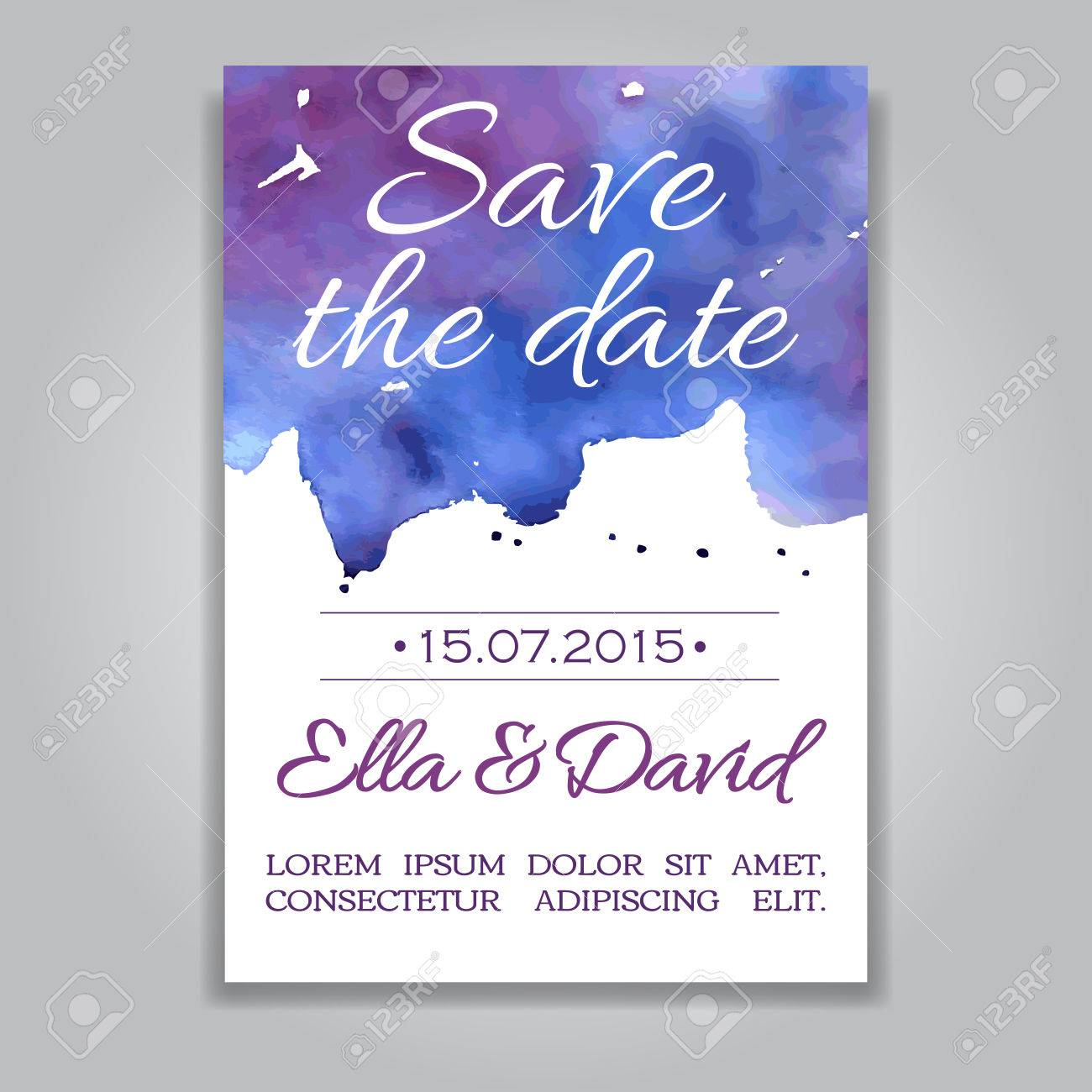 Vector Wedding Invitation Card With Watercolor Background. Template ...