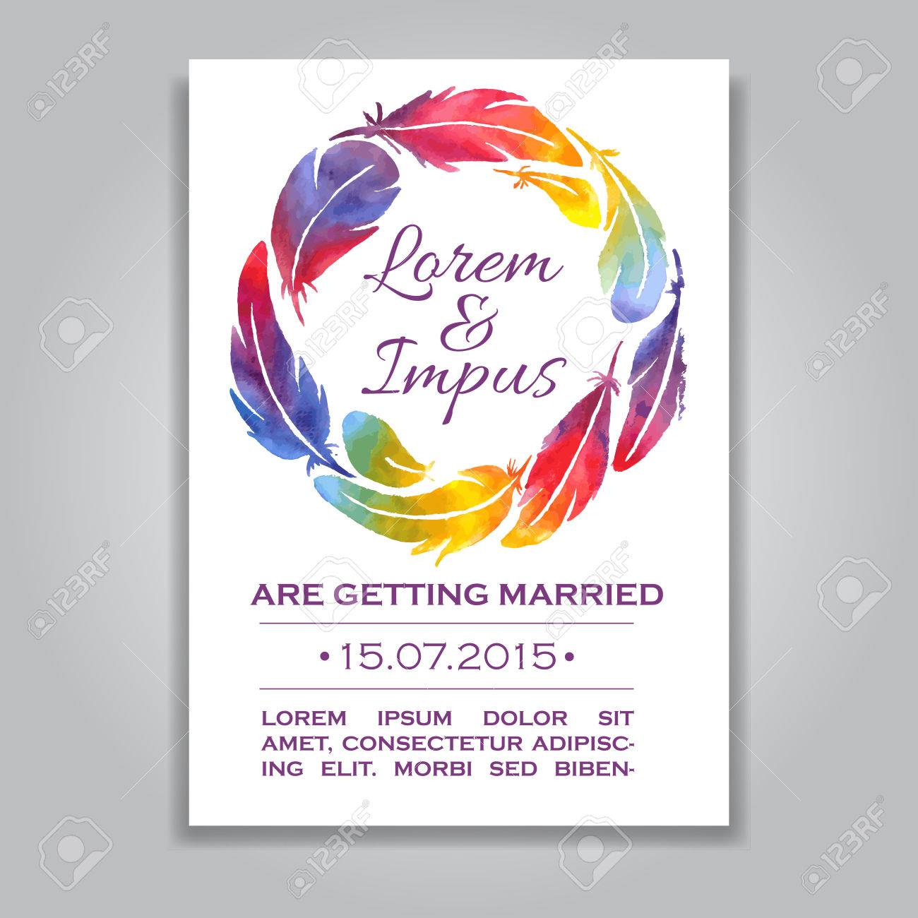 Vector Wedding Invitation Card With Watercolor Feather Wreathe ...