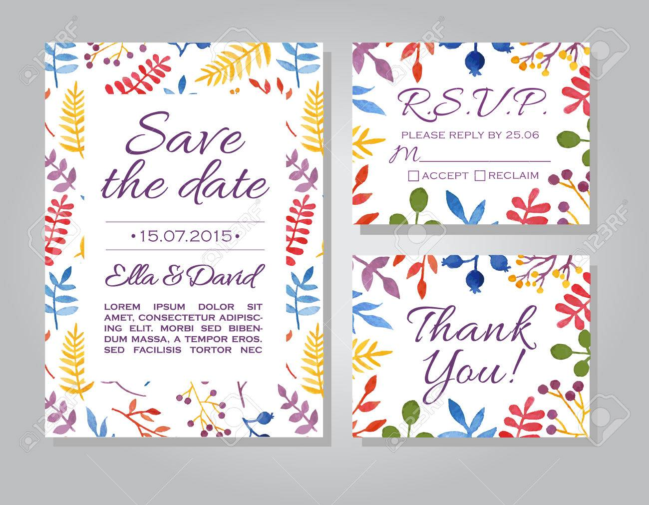 Vector Wedding Invitation Card Set With Floral Watercolor Background ...