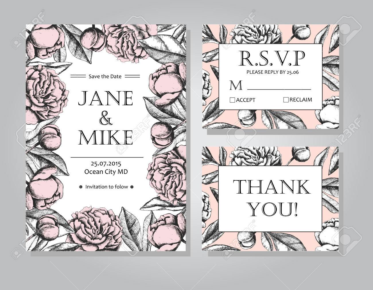 Vintage Elegant Wedding Invitation Card Template Collection With ...