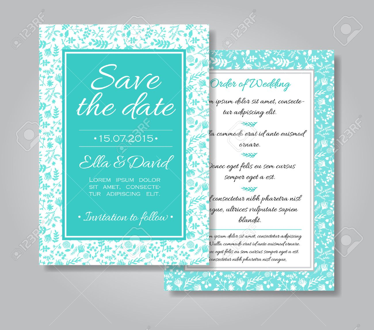 Wedding Invitation Card With Floral Design As Background In Tiffany