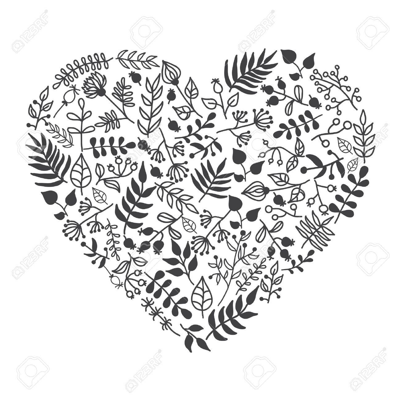 ベクトル素朴なお花のハート形のイラスト手描きで結婚式の招待状の