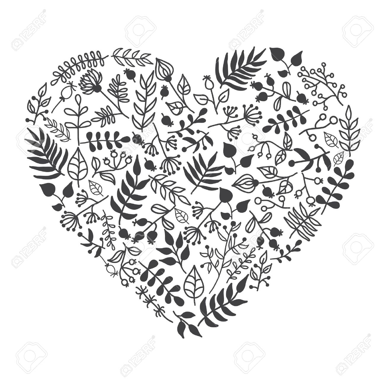Vector Rustic Floral Heart Shape Illustration Hand Draw Great For Wedding Invitations