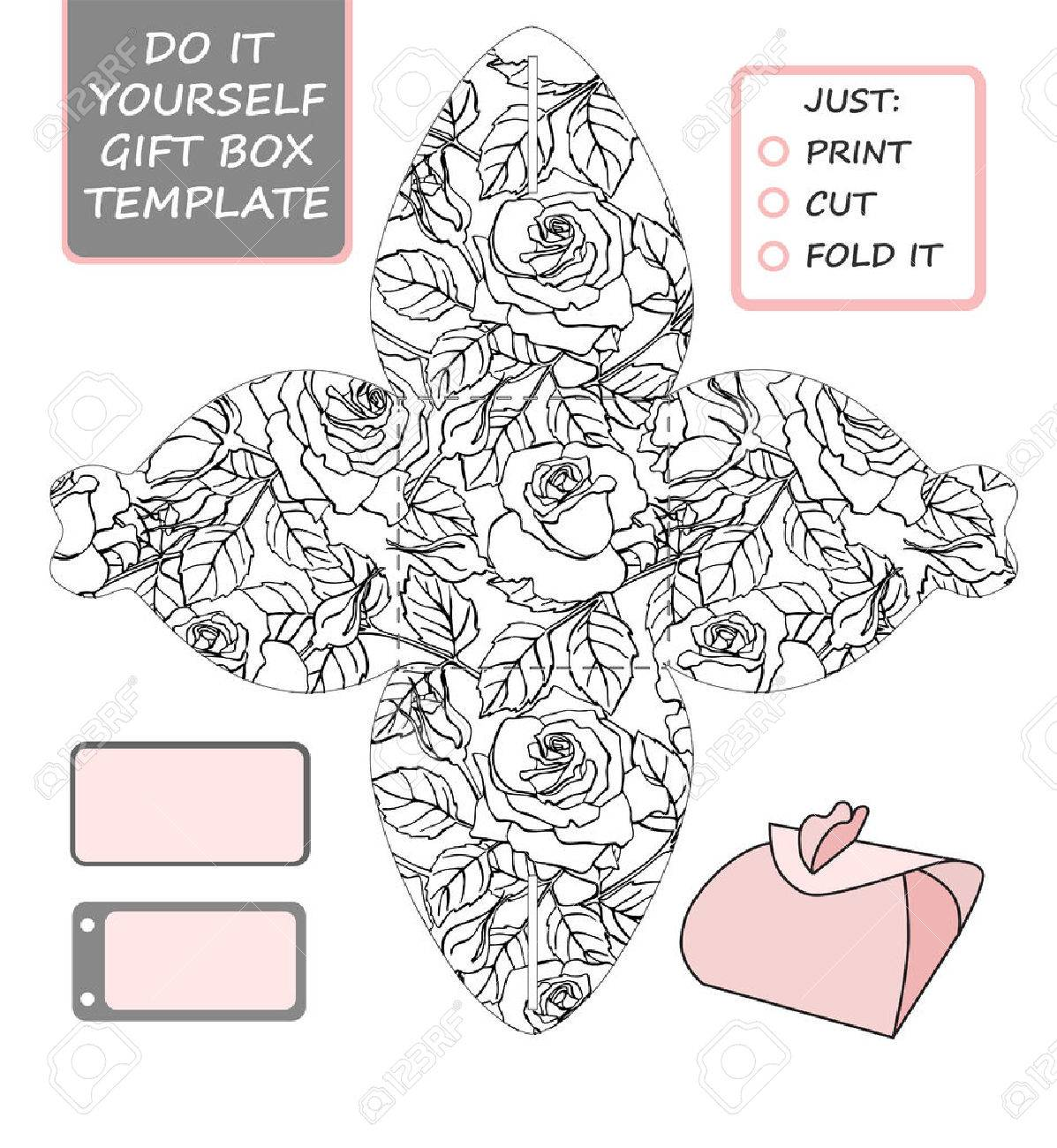 Favor gift box die cut box template with rose pattern great favor gift box die cut box template with rose pattern great for birthday solutioingenieria Images