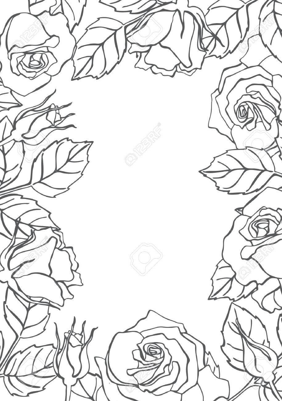 Vector De La Línea Rosa Marco Grande Para Las Invitaciones De Boda Saludo Cumpleaños Y Tarjetas De San Valentín