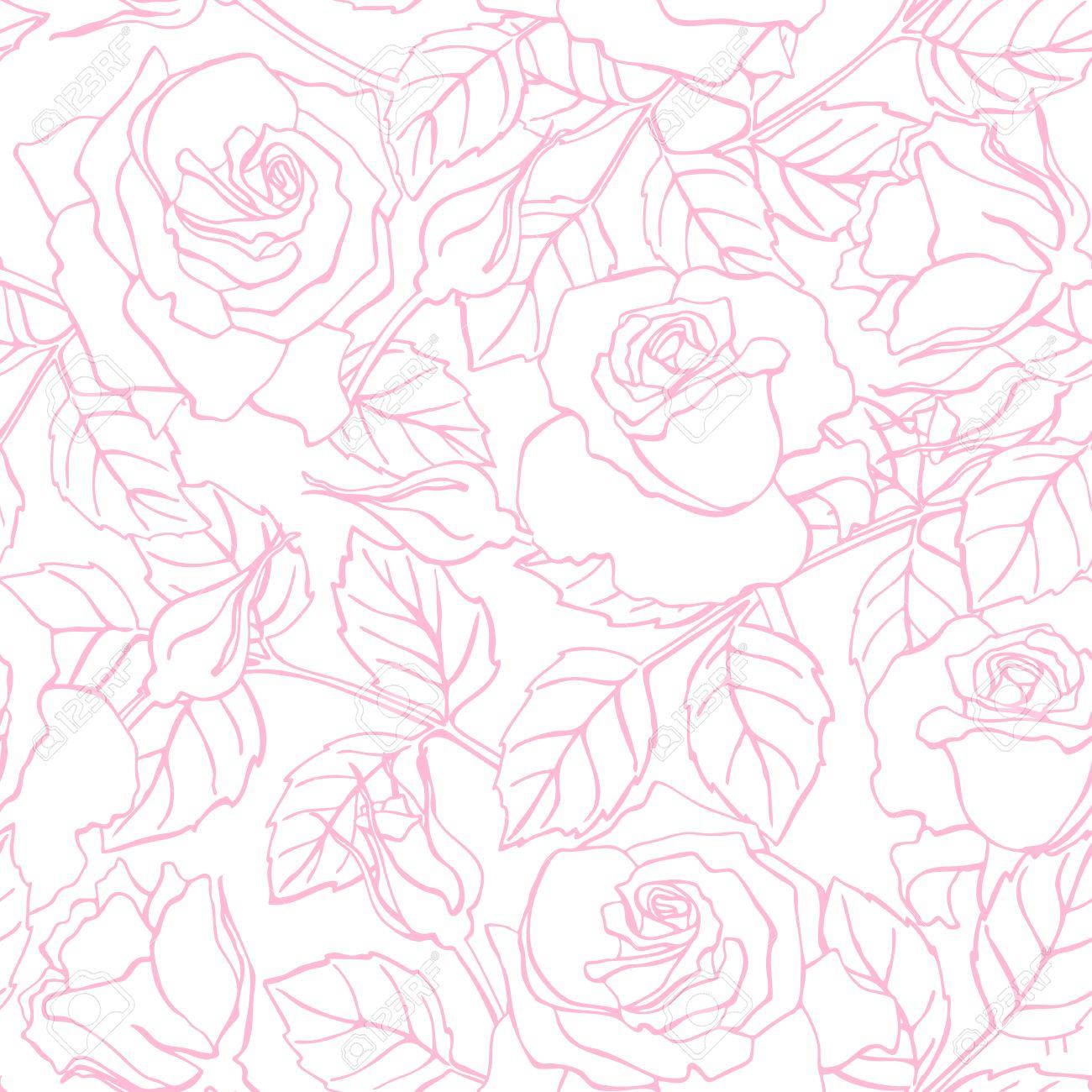 Vector Delicada Línea Modelo Color De Rosa Grande Para Las Invitaciones De Boda Saludo Tarjetas De Cumpleaños Y El Día De San Valentín Y El Fondo