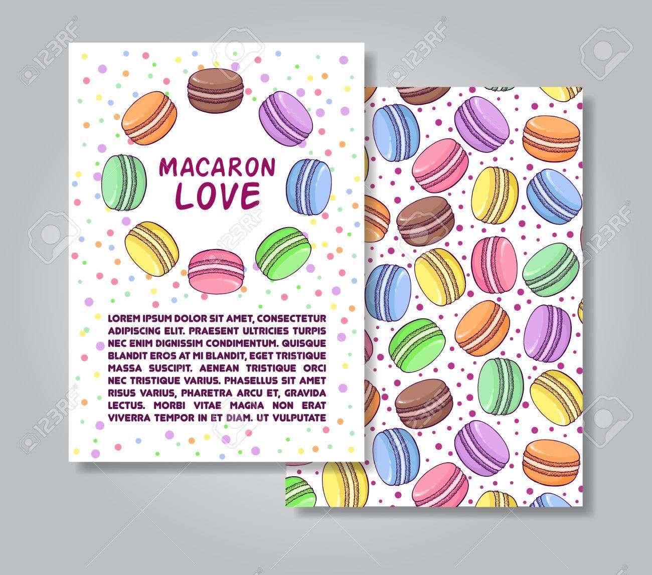 マカロンのイラストとパターンの背景を持つ 2 つの側面招待カード