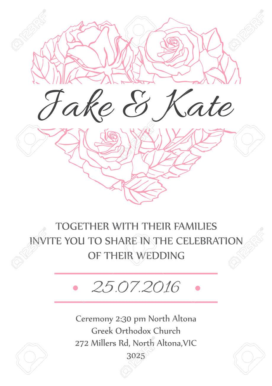 vector delicate wedding invitation card template with line rose