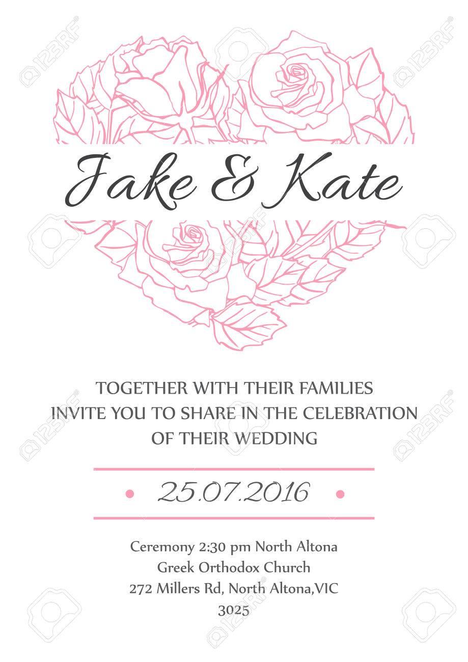 Vector Empfindliche Hochzeitseinladungskarte Vorlage Mit Linie Stieg