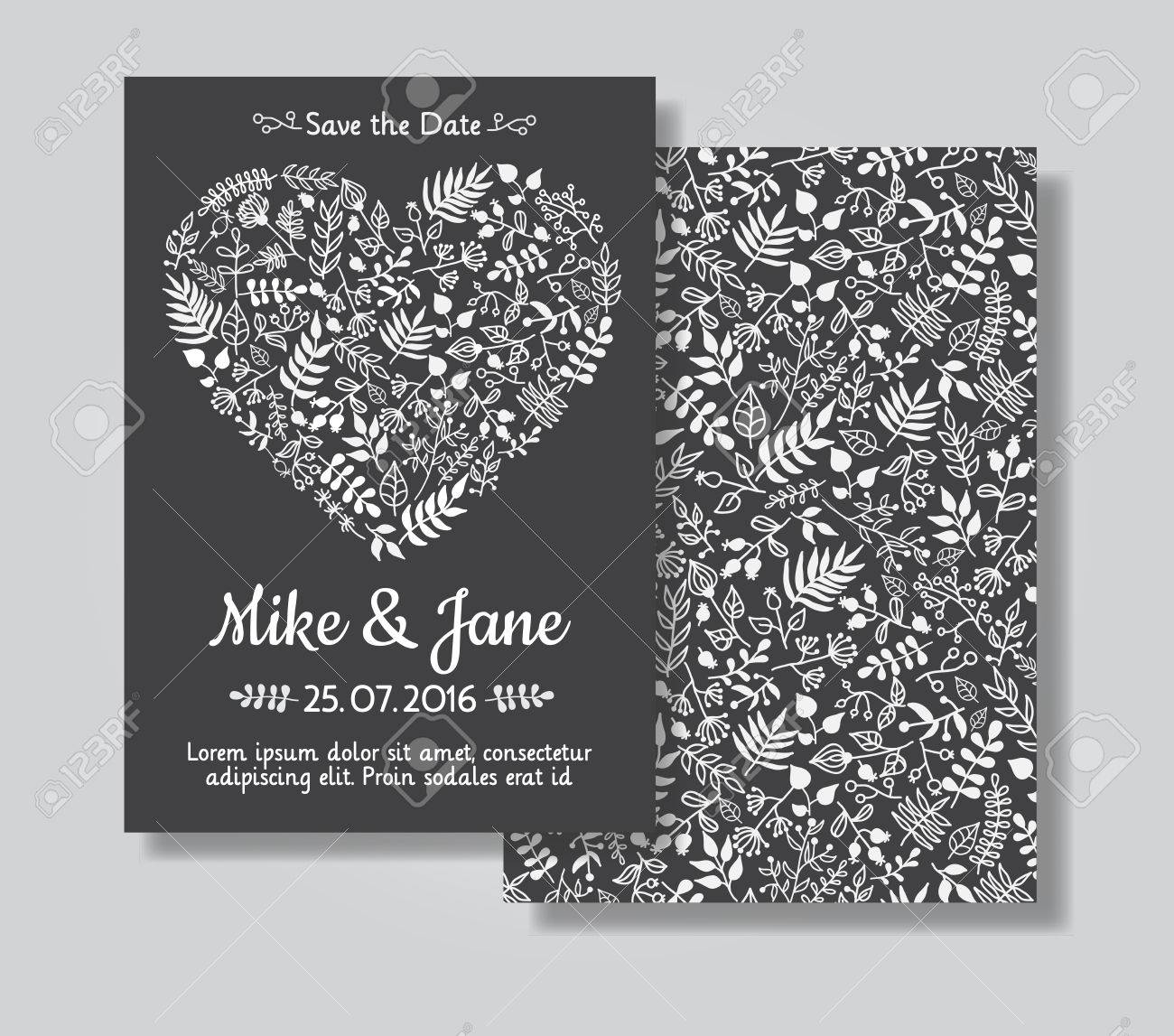 Rustic Wedding Invitation Card Set White Florals In Heart Shape