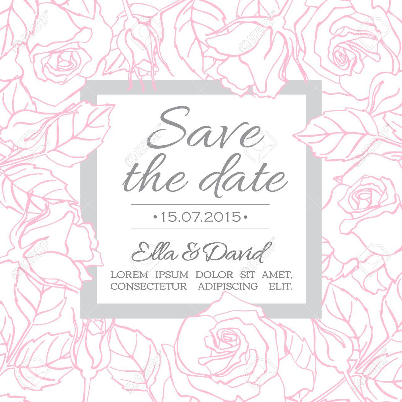 Vector Delicate Wedding Invitation Card Template With Line Rose ...