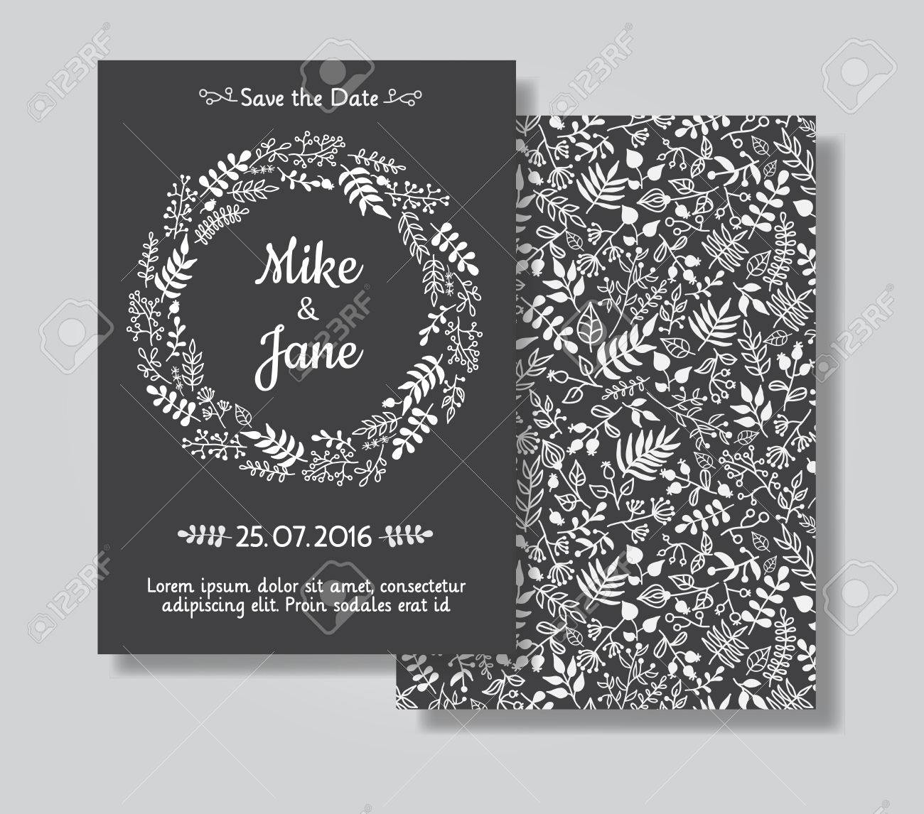 Rustic Wedding Invitation Card Set White Floral Wreath On Black – Black and White Invitation Cards